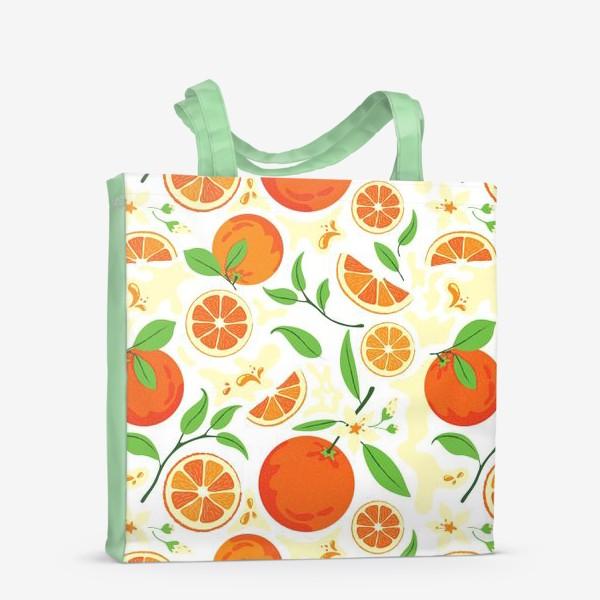 Сумка-шоппер «Сочные оранжевые апельсины с листьями, паттерн»