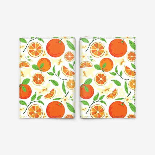Обложка для паспорта «Сочные оранжевые апельсины с листьями, паттерн»