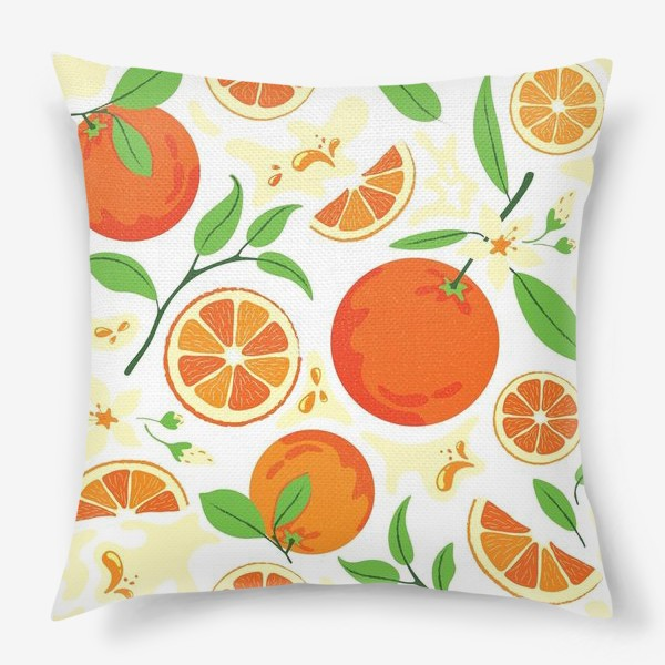 Подушка «Сочные оранжевые апельсины с листьями, паттерн»