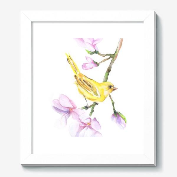 Картина «Желтая птичка на ветке Акварель»