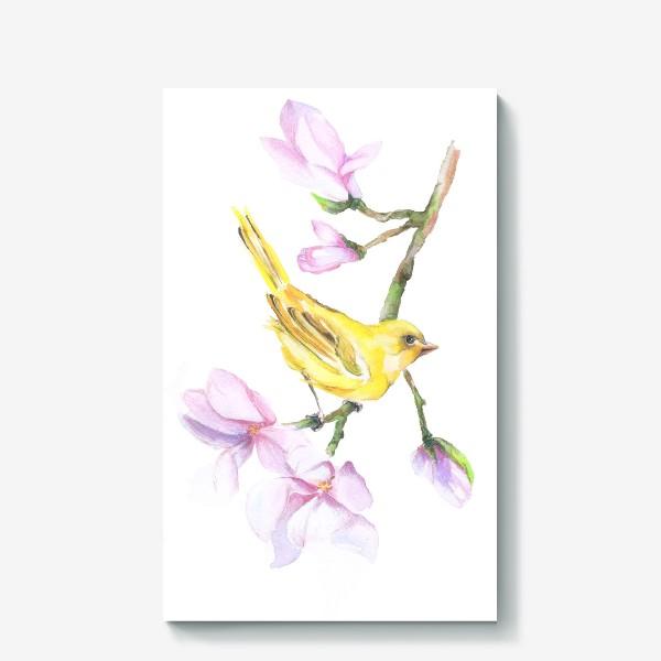 Холст «Желтая птичка на ветке Акварель»