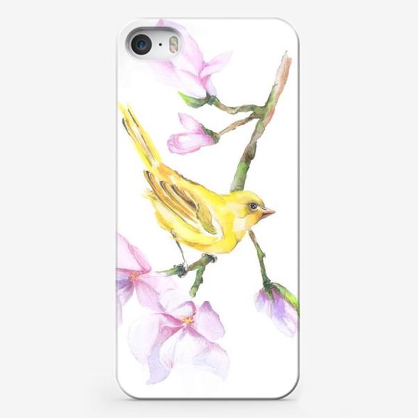 Чехол iPhone «Желтая птичка на ветке Акварель»