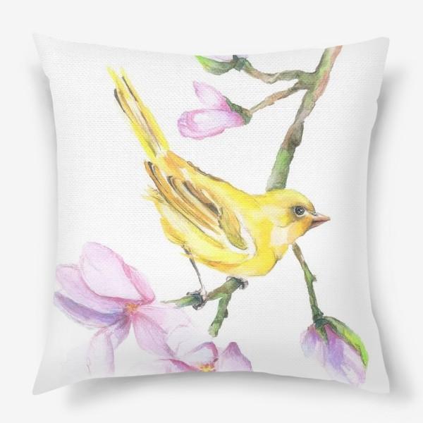 Подушка «Желтая птичка на ветке Акварель»