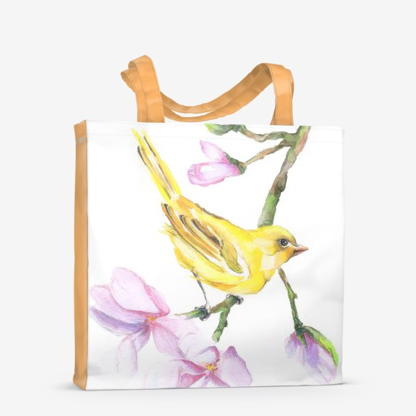 Сумка-шоппер «Желтая птичка на ветке Акварель»