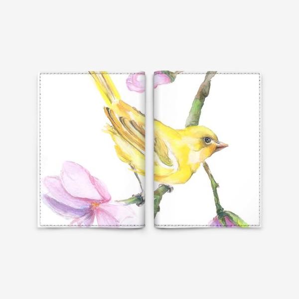 Обложка для паспорта «Желтая птичка на ветке Акварель»