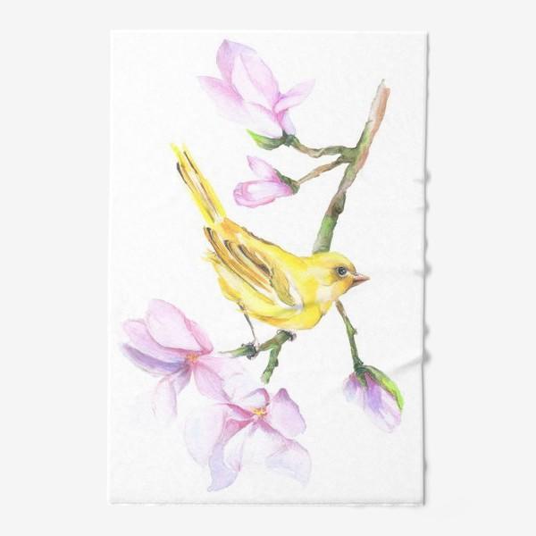 Полотенце «Желтая птичка на ветке Акварель»