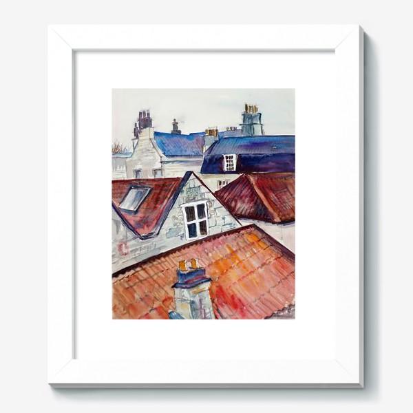 Картина «Акварельное изображение крыш домов, старая черепица и дымоходы»