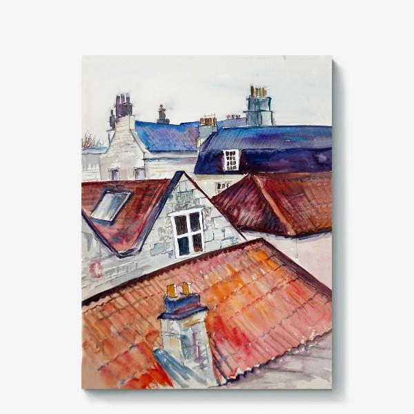 Холст «Акварельное изображение крыш домов, старая черепица и дымоходы»