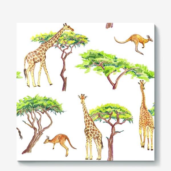 Холст «Африканский паттерн с жирафами»