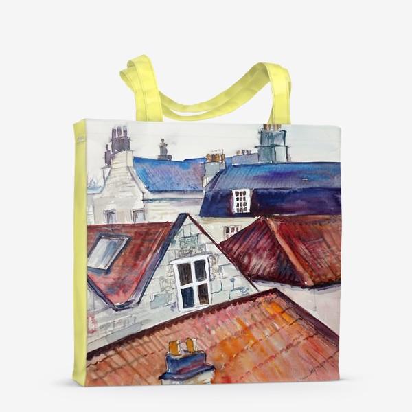 Сумка-шоппер «Акварельное изображение крыш домов, старая черепица и дымоходы»
