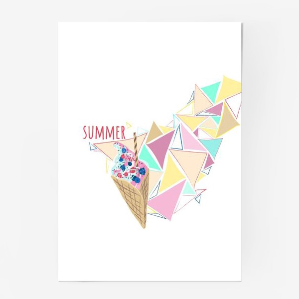 Постер «Мороженое принт лето геометрия»