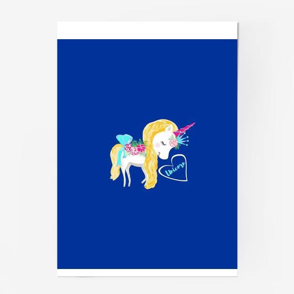 Постер «Единорог unicorn принт цветы»