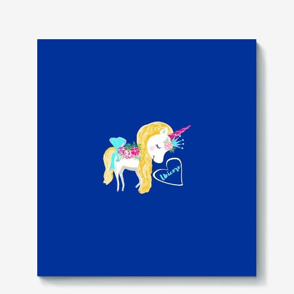 Холст «Единорог unicorn принт цветы»