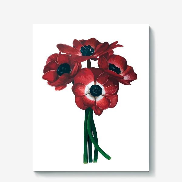 Холст «Красные цветы - Анемоны»