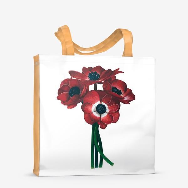 Сумка-шоппер «Красные цветы - Анемоны»