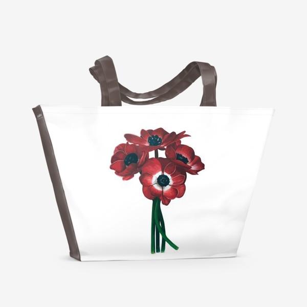 Пляжная сумка «Красные цветы - Анемоны»