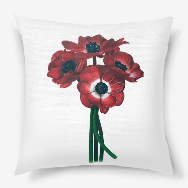 Подушка «Красные цветы - Анемоны»