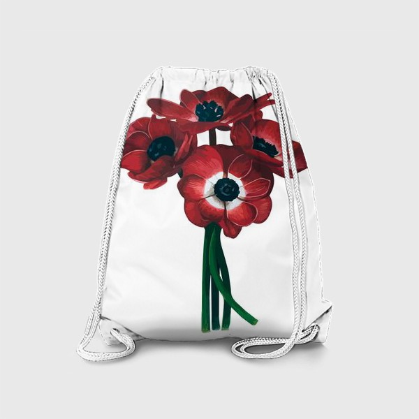 Рюкзак «Красные цветы - Анемоны»