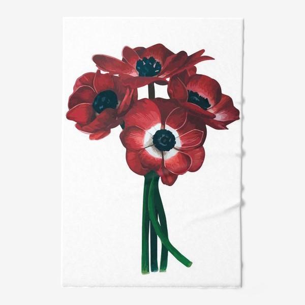 Полотенце «Красные цветы - Анемоны»