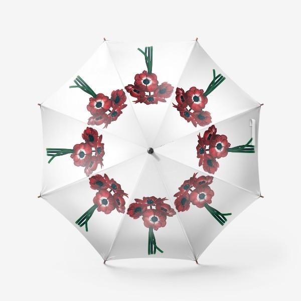 Зонт «Красные цветы - Анемоны»