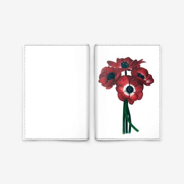 Обложка для паспорта «Красные цветы - Анемоны»