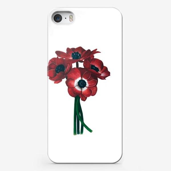 Чехол iPhone «Красные цветы - Анемоны»