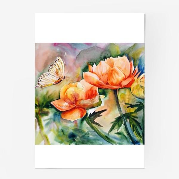 Постер «Акварельный яркий пейзаж из желто-оранжевых цветов и бабочки на размытом фоне»