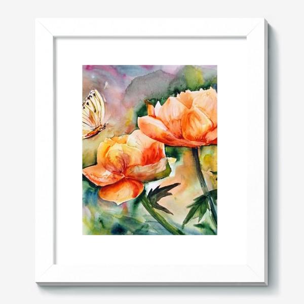 Картина «Акварельный яркий пейзаж из желто-оранжевых цветов и бабочки на размытом фоне»