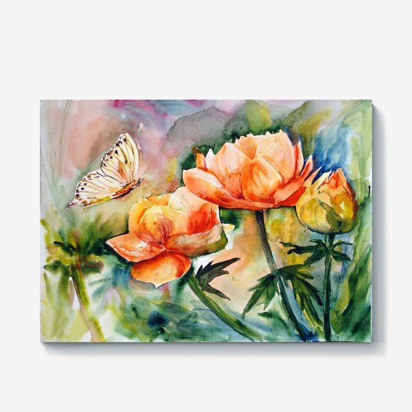 Холст «Акварельный яркий пейзаж из желто-оранжевых цветов и бабочки на размытом фоне»