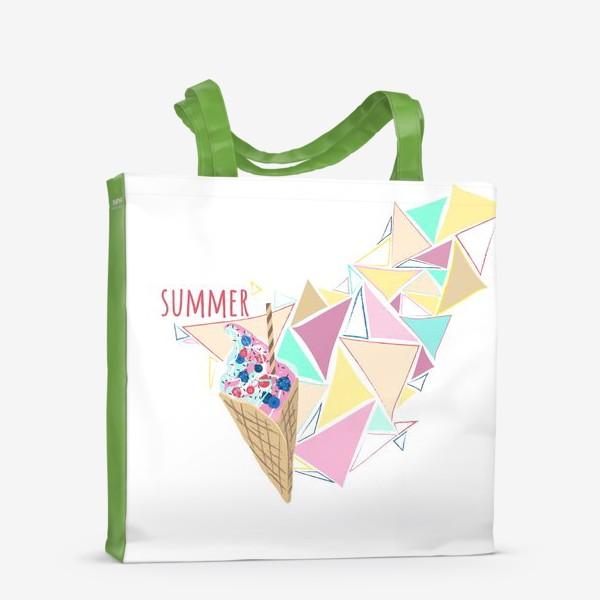 Сумка-шоппер «Мороженое принт лето геометрия»