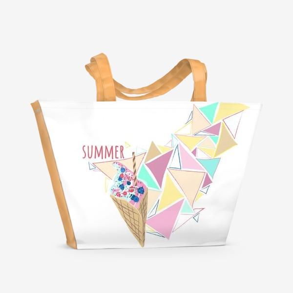Пляжная сумка «Мороженое принт лето геометрия»
