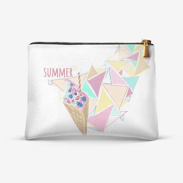 Косметичка «Мороженое принт лето геометрия»