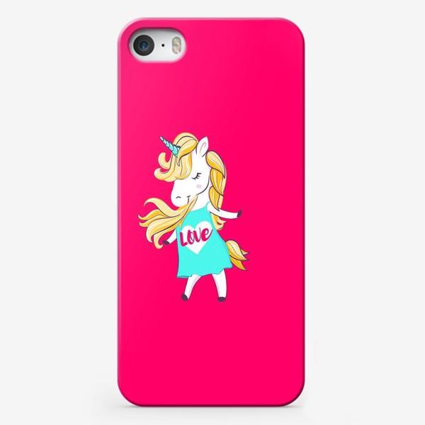 Чехол iPhone «Единорог девочка принт love unicorn»