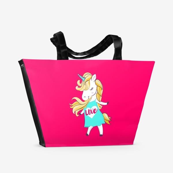 Пляжная сумка «Единорог девочка принт love unicorn»