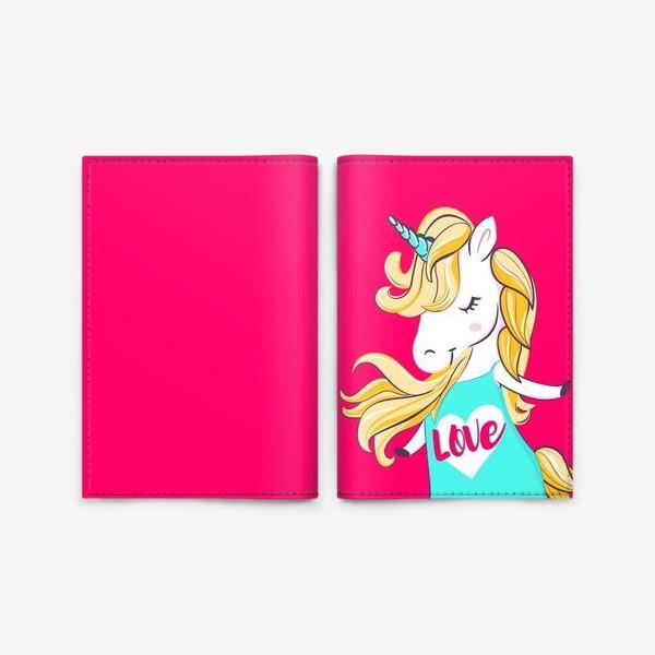 Обложка для паспорта «Единорог девочка принт love unicorn»