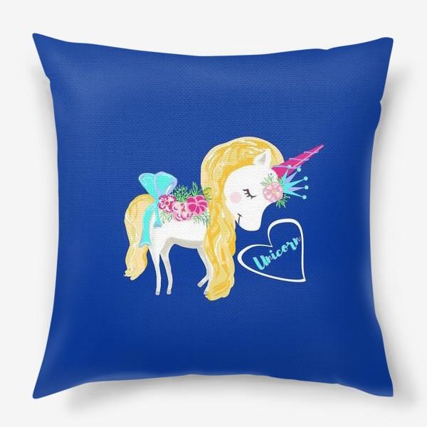 Подушка «Единорог unicorn принт цветы»