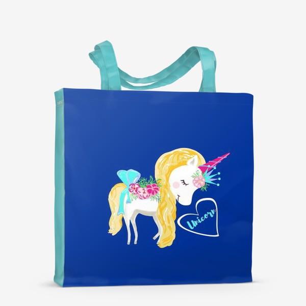 Сумка-шоппер «Единорог unicorn принт цветы»