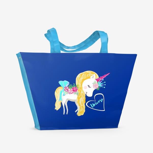 Пляжная сумка «Единорог unicorn принт цветы»