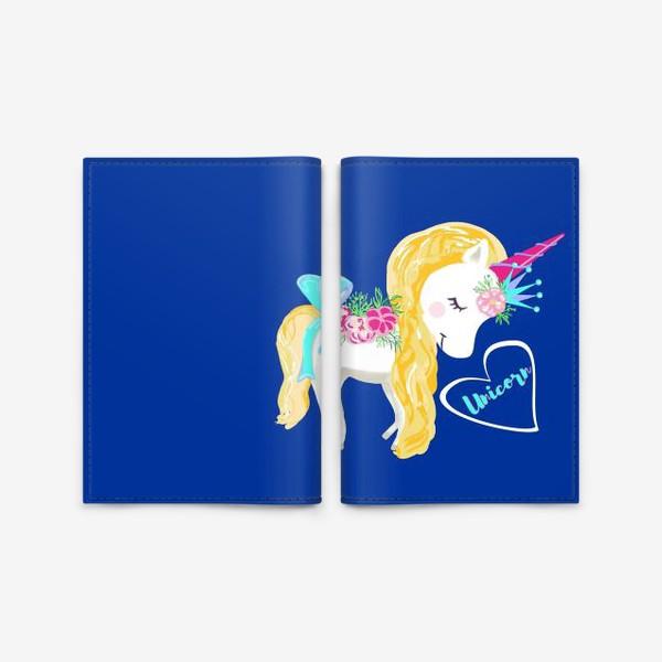 Обложка для паспорта «Единорог unicorn принт цветы»