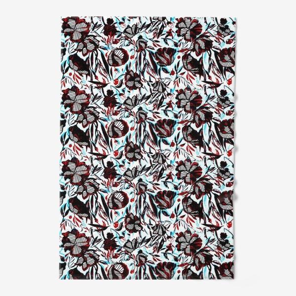 Полотенце «Цветы паттерн голубой розовый белый черный»