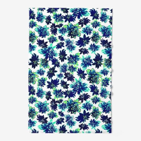 Полотенце «Flowers Цветы паттерн синий зеленый бирюза »