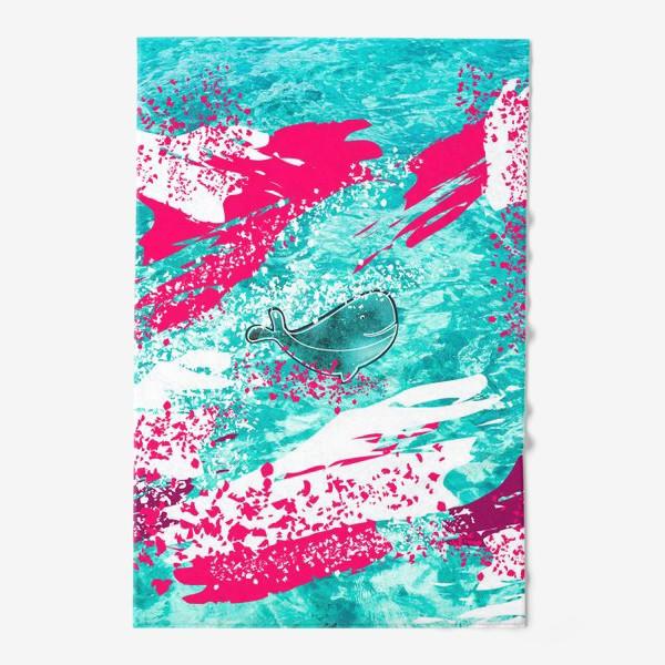 Полотенце «Кит в море графика_Graphic whale in the sea»