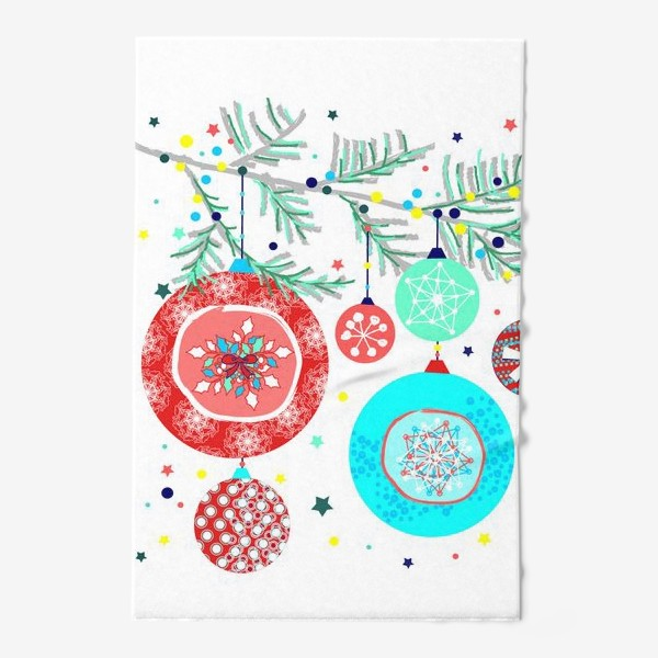 Полотенце «Новый год украшения елка шары иллюстрация конфетти»