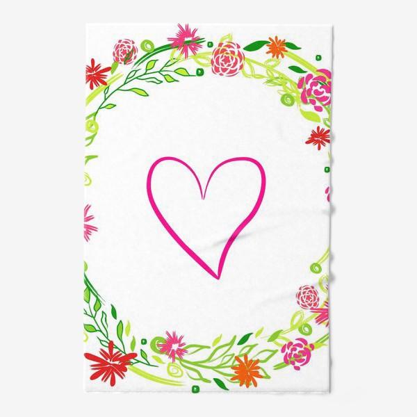 Полотенце «Венок из цветов сердце любовь романтика »