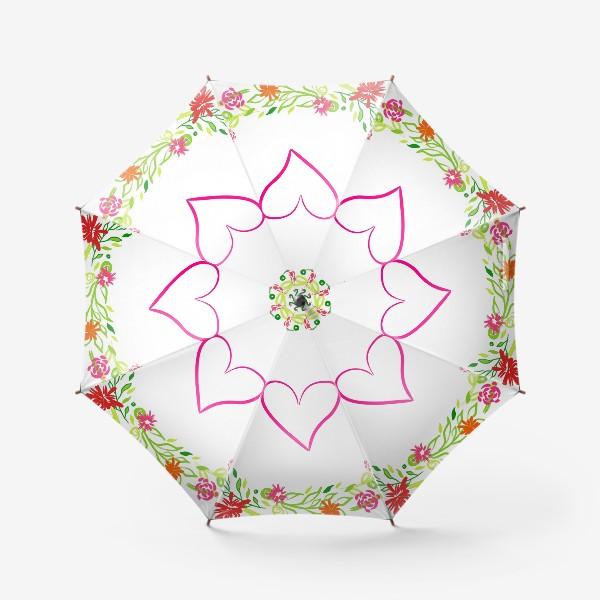 Зонт «Венок из цветов сердце любовь романтика »