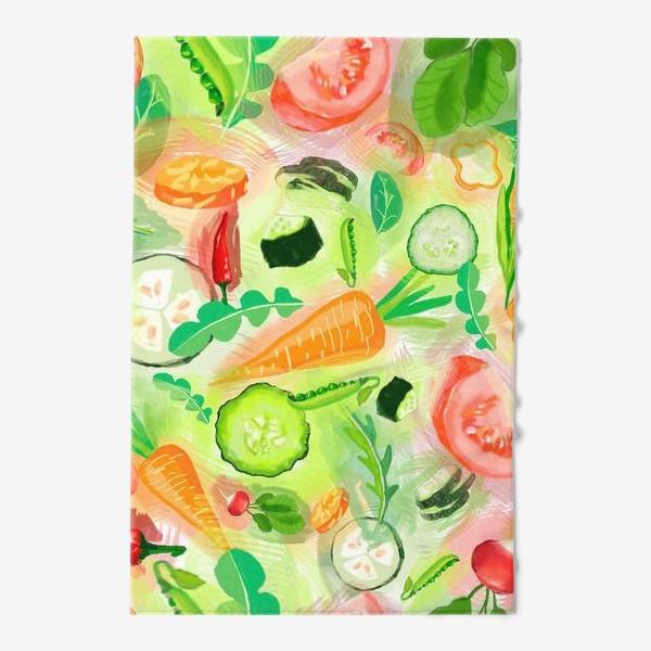 Полотенце «Овощи витамины vegetables огурец помидор перец зелень»