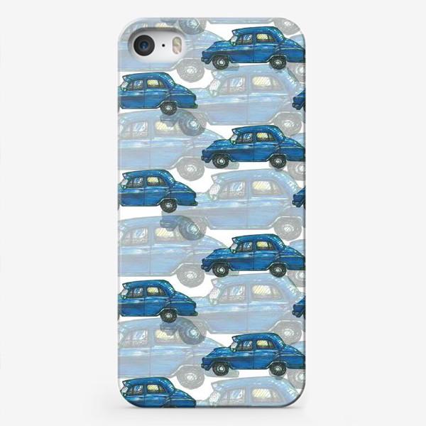 Чехол iPhone «Авто тачки машины синий паттерн »