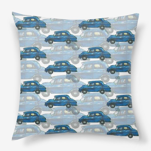 Подушка «Авто тачки машины синий паттерн »