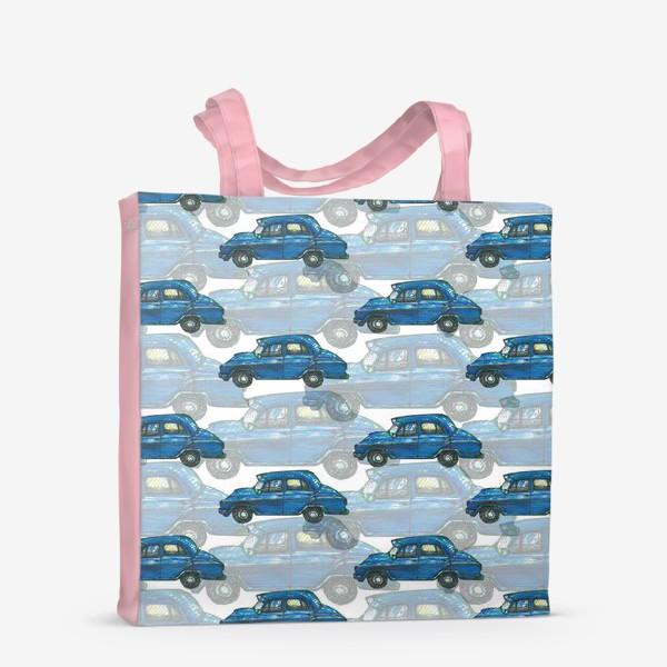 Сумка-шоппер «Авто тачки машины синий паттерн »