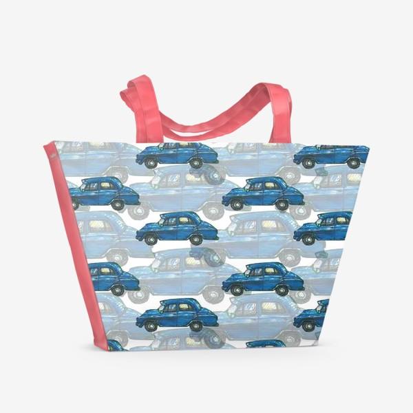 Пляжная сумка «Авто тачки машины синий паттерн »